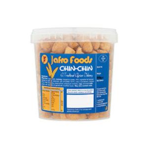 A tub of Jafro Foods Chin Chin
